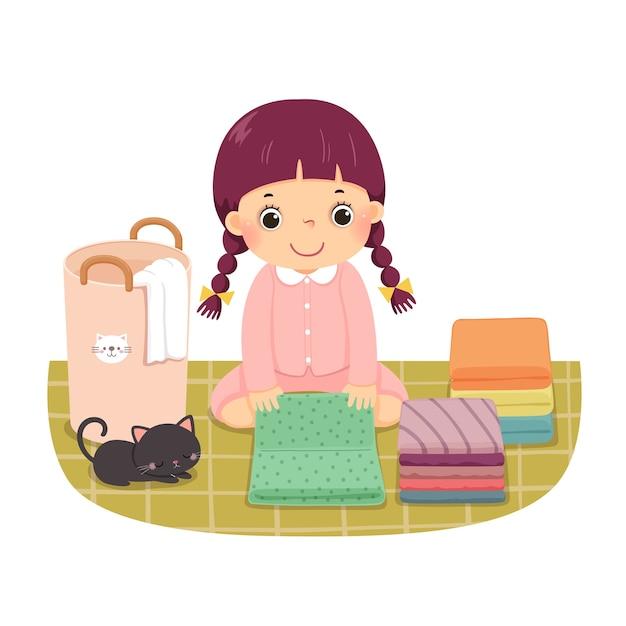 Cartone animato di una bambina pieghevole vestiti. bambini che fanno le faccende domestiche a casa concetto. Vettore Premium