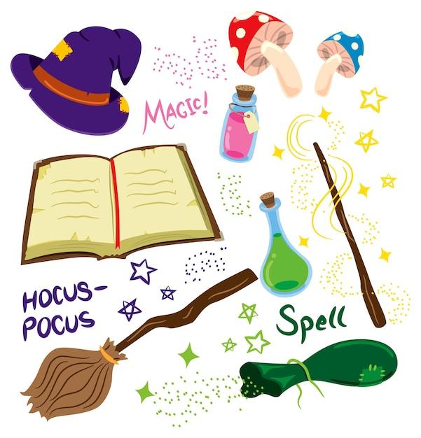 Fumetto illustrazione di attrezzature magiche Vettore Premium