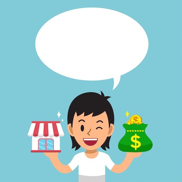 Cartone animato un uomo che trasporta negozio di franchising e borsa di denaro con nuvoletta bianca Vettore Premium