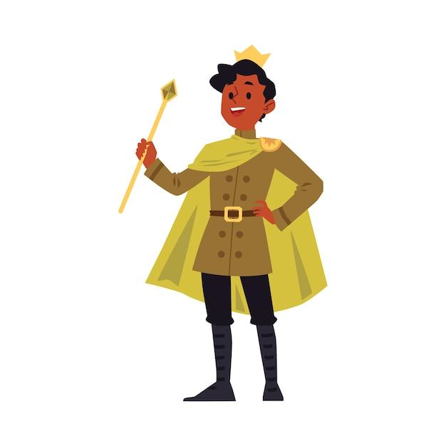 Uomo del fumetto in costume da re e corona reale d'oro che tiene un bastone dello scettro e sorridente - giovane felice con la pelle scura che indossa il mantello del principe. illustrazione. Vettore Premium
