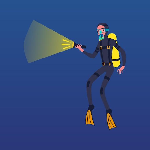 Uomo del fumetto in costume da immersione con bombole che tiene la torcia elettrica per vedere in acque scure - subacqueo con maschera e bombola di ossigeno che nuota sott'acqua. illustrazione Vettore Premium
