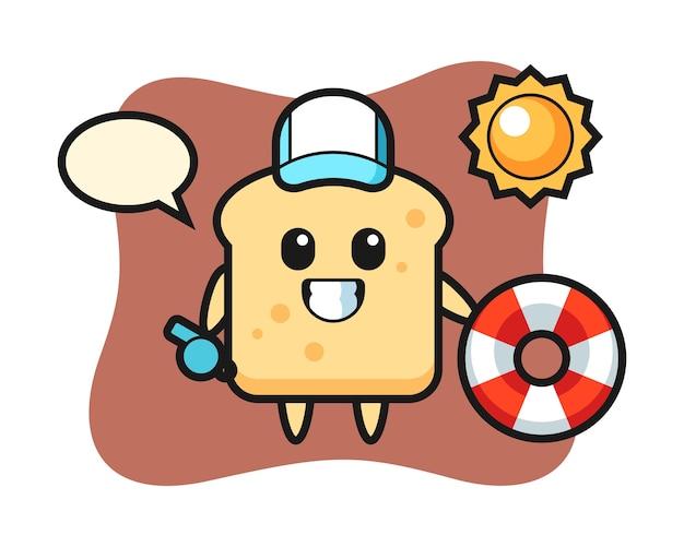 Mascotte del fumetto di pane come guardia della spiaggia Vettore Premium