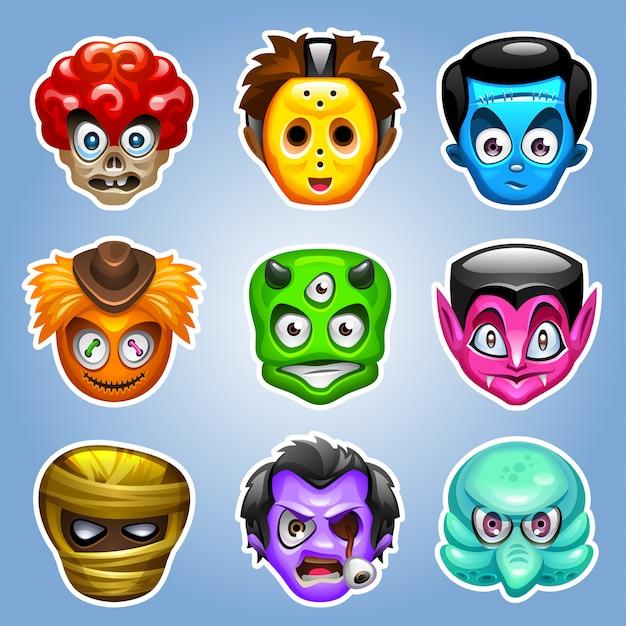 Personaggi dei mostri dei cartoni animati. Vettore Premium