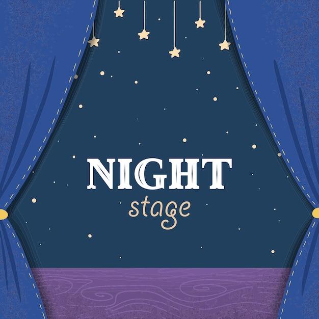 Fase del teatro notturno dei cartoni animati con tende blu scuro Vettore Premium