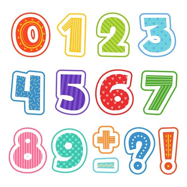 Numeri del fumetto, alfabeto colorato divertente per i bambini della scuola testo clipart setisolated Vettore Premium