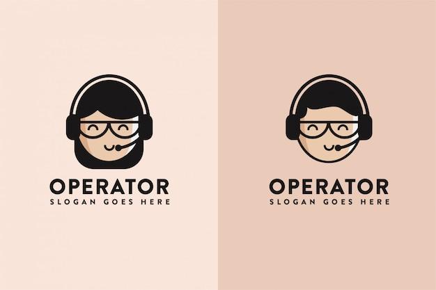 Logo di assistenza dell'operatore del fumetto Vettore Premium