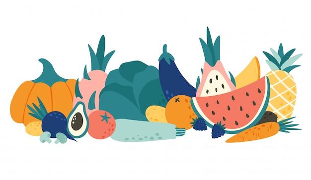 Cartoon alimenti biologici. illustrazione di vettore di frutta e verdura, frutta e verdura naturale Vettore Premium