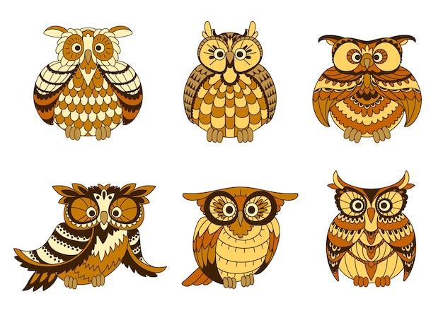Cartoon gufi uccelli con piumaggio marrone e giallo, dischi facciali ornamentali e ciuffi auricolari. Vettore Premium