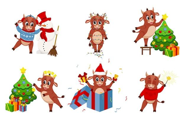 Bue del fumetto. felice anno nuovo cinese, anno della mucca. set di grafica natalizia, simpatici tori per il design del nuovo anno. Vettore Premium