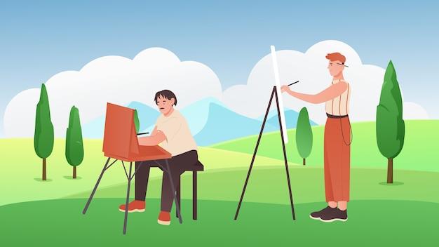 Pittori di cartoni animati che tengono i pennelli, seduti, in piedi accanto a cavalletti e pittura Vettore Premium