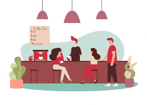 Cartoon people talk drink cafe barista make coffee Vettore Premium