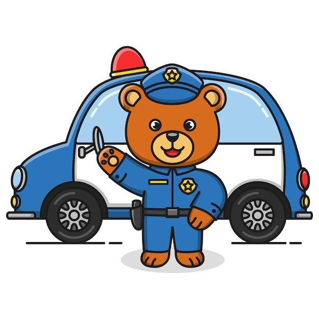 Progettazione dell'illustrazione dell'orso di polizia del fumetto Vettore Premium