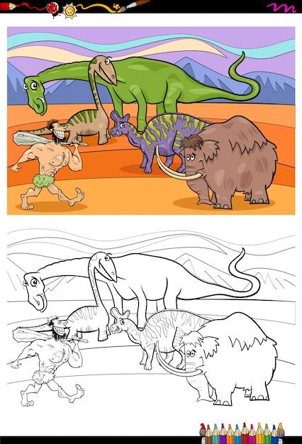 Libro da colorare di personaggi preistorici del fumetto Vettore Premium