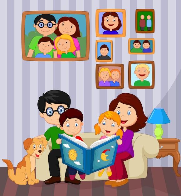 Cartone animato legge un libro di favole nel soggiorno ...