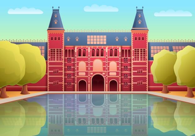 Punto di riferimento del museo dei rijks del fumetto di amsterdam, illustrazione Vettore Premium