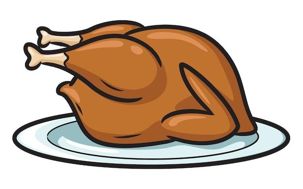 Pollo arrosto dei cartoni animati Vettore Premium
