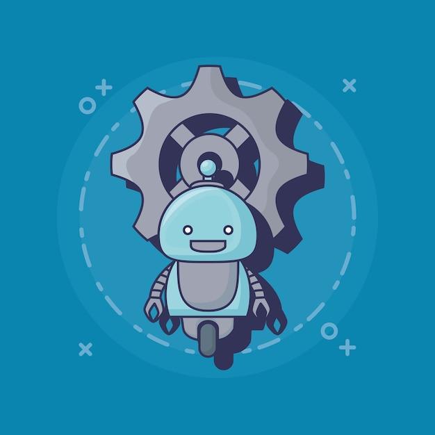Icona di robot dei cartoni animati Vettore Premium
