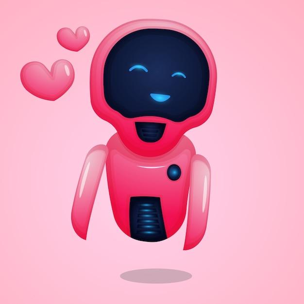 Robot dei cartoni animati innamorato Vettore Premium