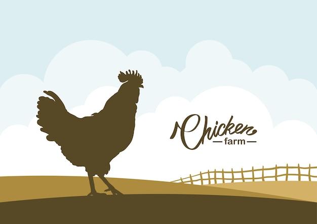 Scena del fumetto con sagoma di gallo sullo sfondo del campo dell'azienda agricola. Vettore Premium