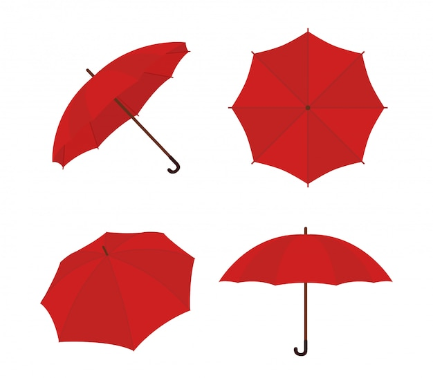 Insieme del fumetto dell'ombrello. ombrellone rosso, gamp Vettore Premium