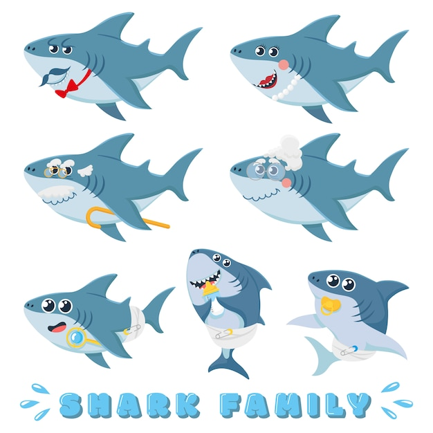 Famiglia di squali del fumetto. squalo neonato, padre marino comico e allegro illustrazione di personaggi squali madre Vettore Premium