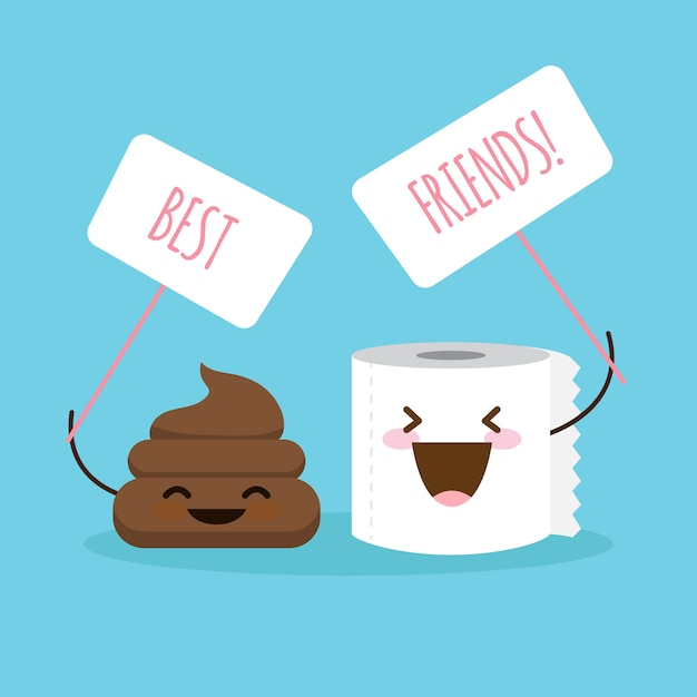 Cartone animato merda e illustrazione di carta igienica con cartello