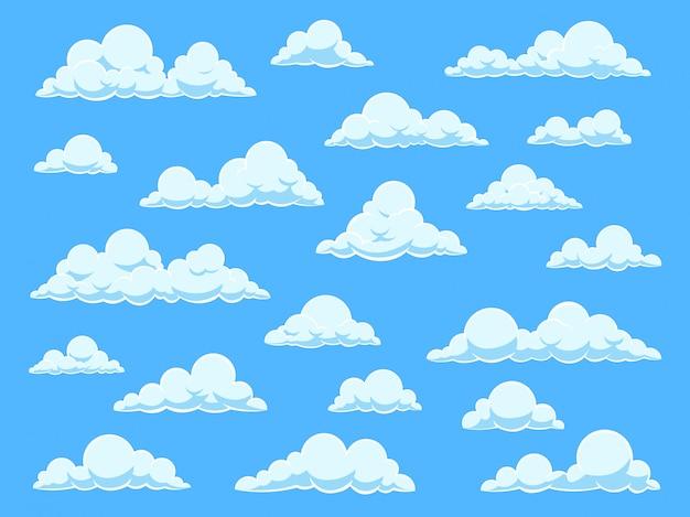Nuvole del cielo del fumetto. cloudscape nel panorama del cielo blu, diverse forme di nuvole bianche, impostato per carta da parati cute baby Vettore Premium