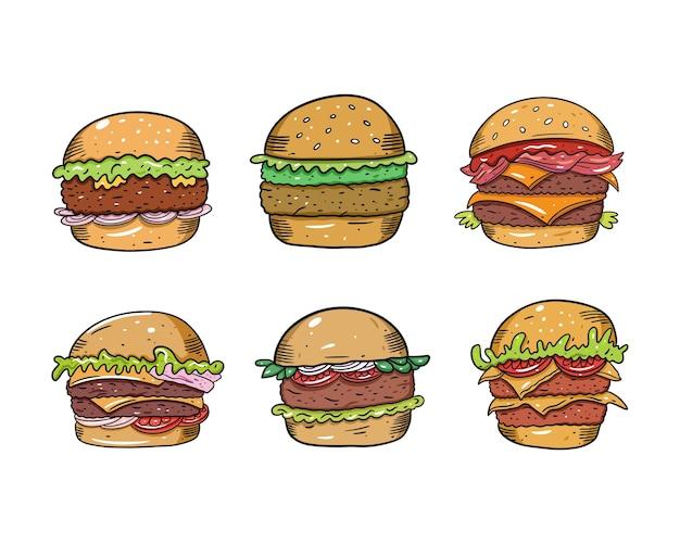 Set di hamburger in stile cartone animato. isolato su sfondo bianco. disegno di testo schizzo per tazza, blog, carta, poster, banner e t-shirt. Vettore Premium