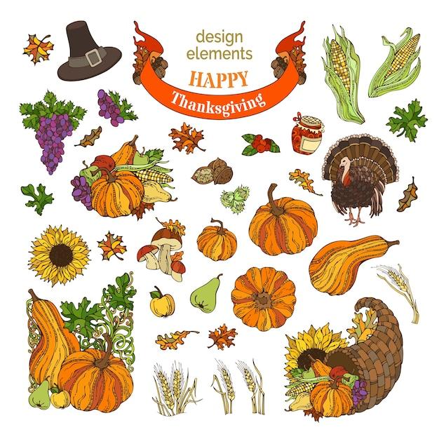 Elementi di design del ringraziamento dei cartoni animati. tacchino, cornucopia, cappello da pellegrino, zucca, mais, grano e altri. Vettore Premium