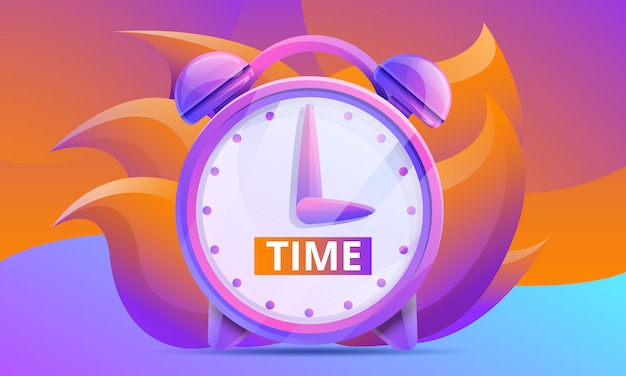 Cartoon time concept design con orologio Vettore Premium