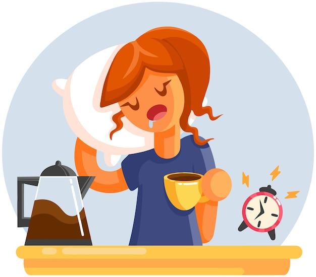 Cartone animato stanco sonnolenta sbadiglia donna con una tazza di caffè. Vettore Premium