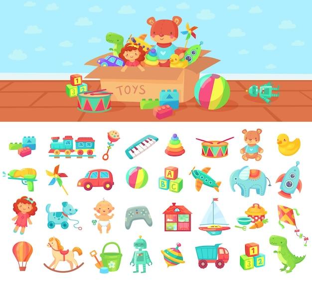 Giocattoli del fumetto. insieme di vettore di bambini giocano, blocco e bambola, macchina a sonagli e elefante carino Vettore Premium