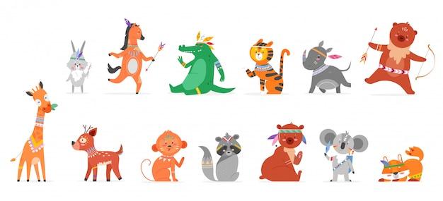 Insieme dell'illustrazione piana animale tribale del fumetto. collezione di fauna selvatica boho animalesco divertente con tribù della foresta selvaggia carina di scimmia lepre rinoceronte orsacchiotto giraffa cervo procione volpe isolato Vettore Premium