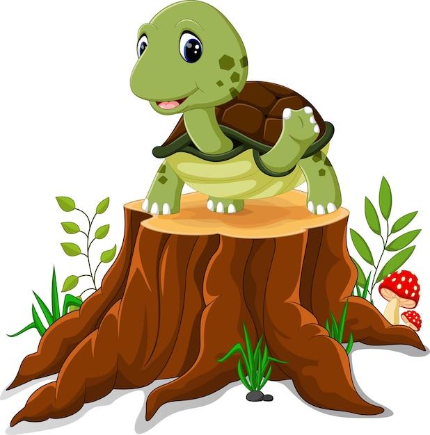 Tartaruga del fumetto che posa sul ceppo di albero Vettore Premium