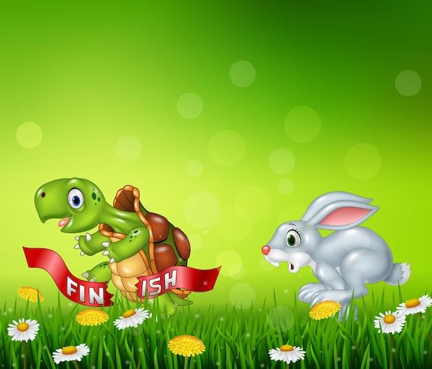 Cartoon una tartaruga vince la gara contro un coniglio Vettore Premium
