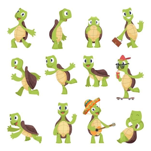 Tartarughe cartoon. animali divertenti felici che eseguono la raccolta della tartaruga Vettore Premium