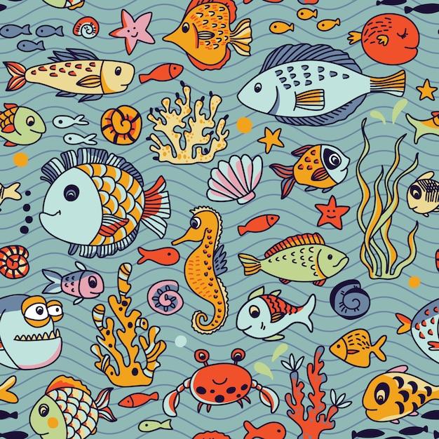 Reticolo senza giunte subacqueo del fumetto con granchio, pesci, cavalluccio marino, coralli e altri elementi marini. Vettore Premium