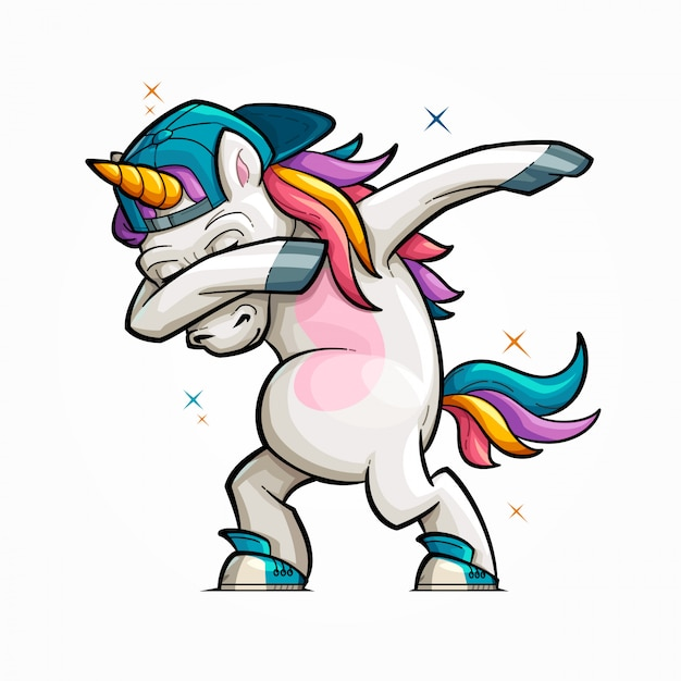 Cartoon unicorn dabbing illustration Vettore Premium