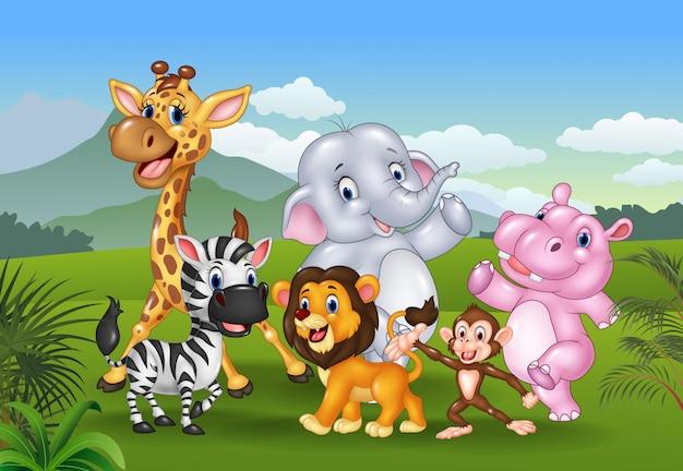 Cartoon animali selvatici nella giungla Vettore Premium