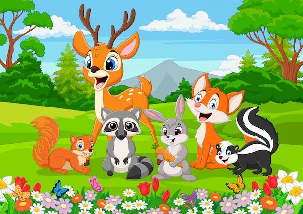 Animali selvatici del fumetto nella giungla Vettore Premium