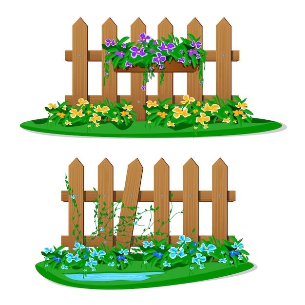 Recinzione in legno del fumetto con fiori da giardino in vasi sospesi. set di recinzioni da giardino su sfondo bianco. assi di legno silhouette costruzione in stile con decorazioni floreali pendenti Vettore Premium