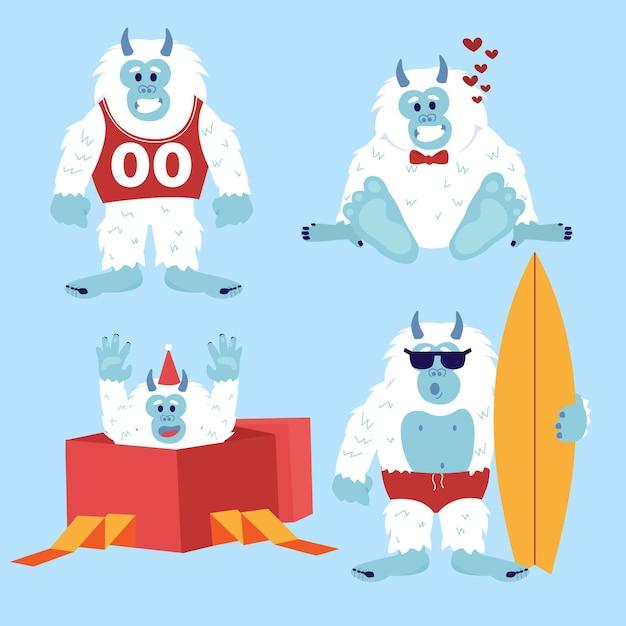 Cartoon yeti abominevole pupazzo di neve illustrazione Vettore Premium