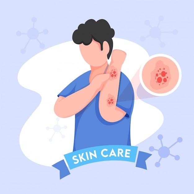 Giovane ragazzo del fumetto che prude le sue mani e molecole decorate su priorità bassa blu per la cura della pelle. Vettore Premium