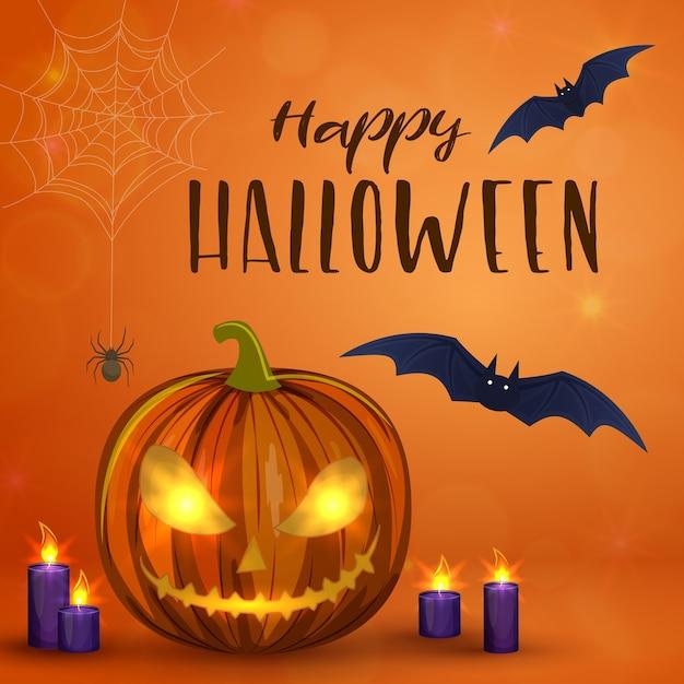 Zucche di halloween intagliate, illustrazione spaventosa variopinta di halloween. Vettore Premium