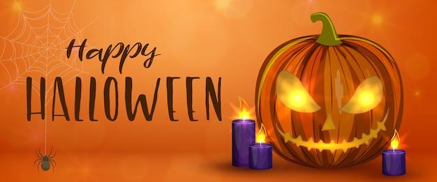 Zucche di halloween intagliate, banner orizzontale. illustrazione di halloween spaventoso colorato. Vettore Premium