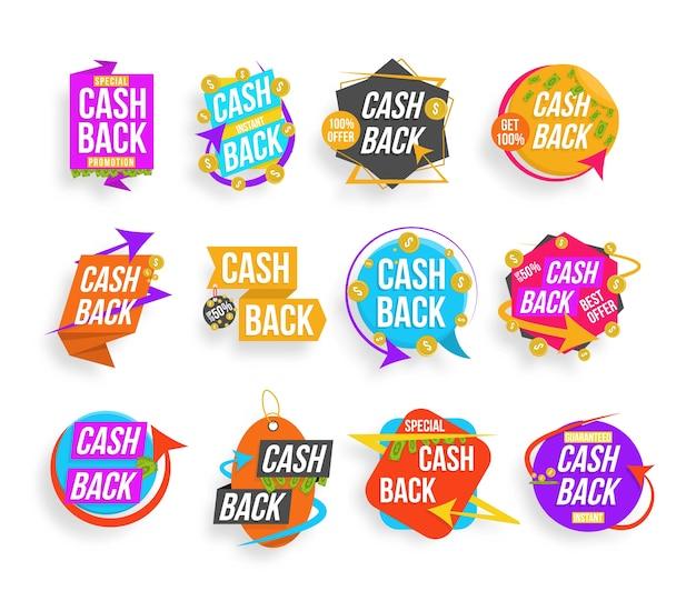 Cash back, set di lettere colorate. raccolta di banner cashback. super vendita, frasi best seller, shopping, vendita al dettaglio, annuncio. badge pubblicitari per la tua attività. Vettore Premium