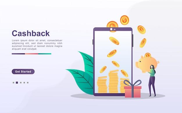 Concetto di cashback con carattere di persone Vettore Premium