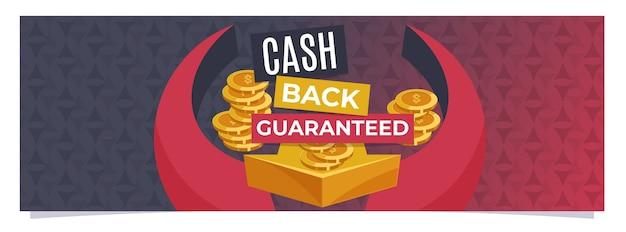 Cashback garantito modello di banner web Vettore Premium