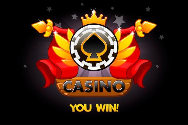 Premi del casinò. icone di valutazione del casinò con chip di poker e nastro. illustrazione per casinò, slot e interfaccia utente di gioco. Vettore Premium