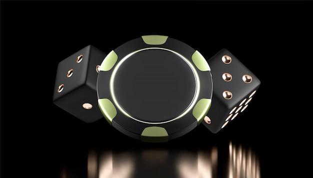 Sfondo di casinò. gioco da casinò 3d trucioli e dadi. banner del casinò online. chip realistico nero e oro. concetto di gioco d'azzardo, icona dell'app mobile di poker. Vettore Premium